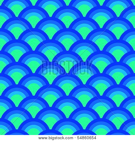 Colorful asian scallop seamless pattern in blue, vector