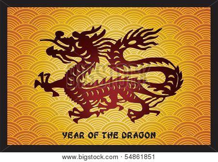 Traditional Asian Dragon on golden background, vector illustration
