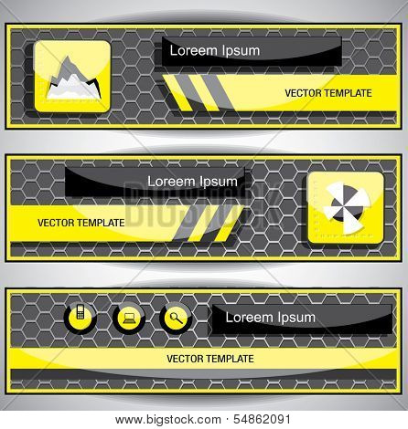 Set of web banners. Vector template. For adding you images in this template Place your images on