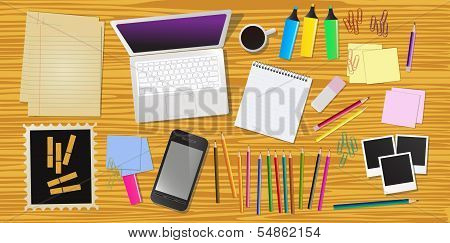 Work desk with office stationery, vector illustration