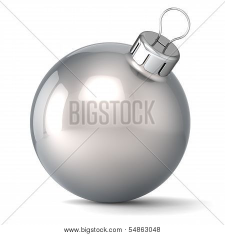 Christmas ball New Years Eve bauble decoration silver chrome