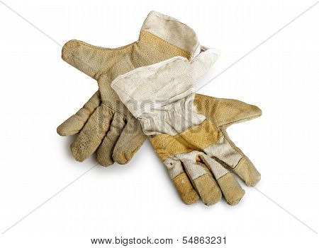 Dirty And Well-worn Pair Of Canvas And Leather Work Gloves