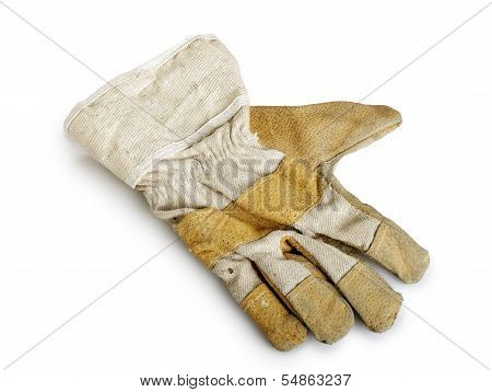 Dirty And Well-worn Leather Work Glove On White Background.
