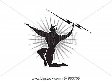 Olympian Zeus throwing a bolt of lightning