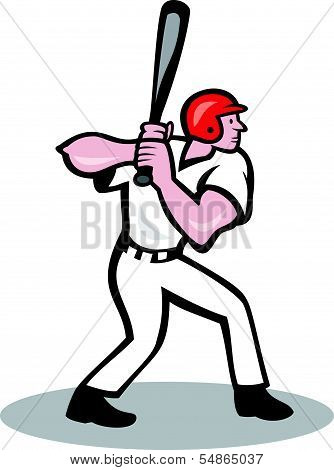 Baseball Player Batting Side Cartoon