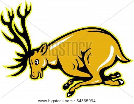Deer Charging Side Cartoon