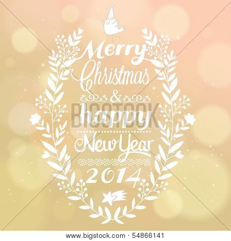 Stylish Merry Christmas and Happy New Year card design with bokeh effect. Vintage vector out of focus background with typographic congratulation. 2014 invitation in pink colors