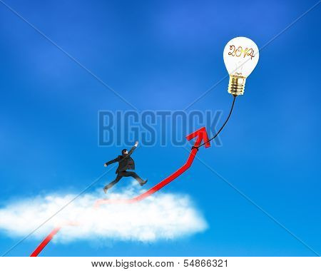 Businessman running on growth red arrow with lamp balloon through cloud in the sky