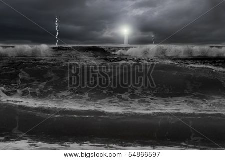Dramatic Ocean, Dark Cloudy Sky With Lightning Lighthouse In Front