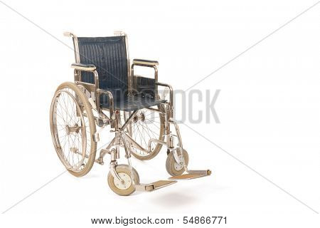 Empty wheelchair isolated over white background