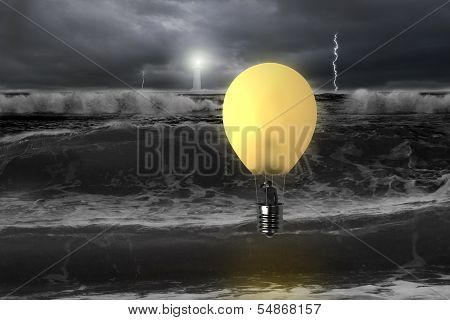 Man Taking Lamp Balloon With Dramatic Ocean, Lightning And Lighthouse