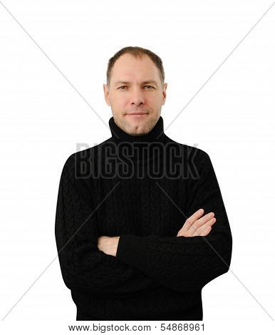 Sly Smiling Man In Black Isolated On The White Background