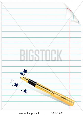 Page Of Notebook With Pen And Blots