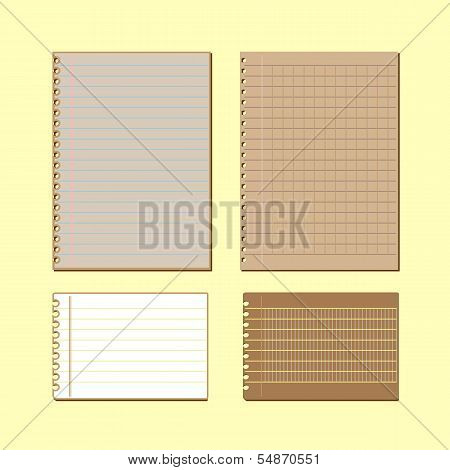 Vintage Lined Papers On Yellow Background