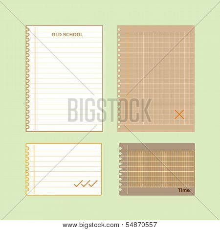 Retro Lined Papers On Green Background