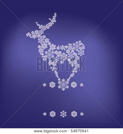 stylized silhouette of stanging deer  formed by snowflakes