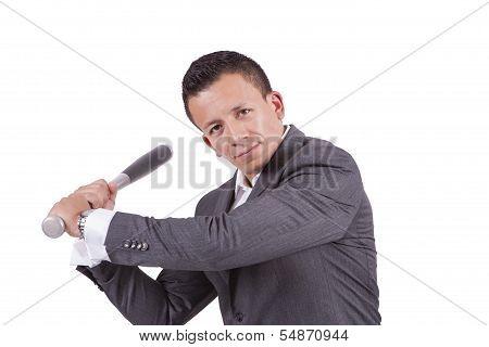 Young mixed race businessman swinging his baseball bat