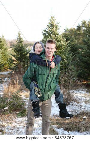 Brothers having fun at a Christmas tree farm