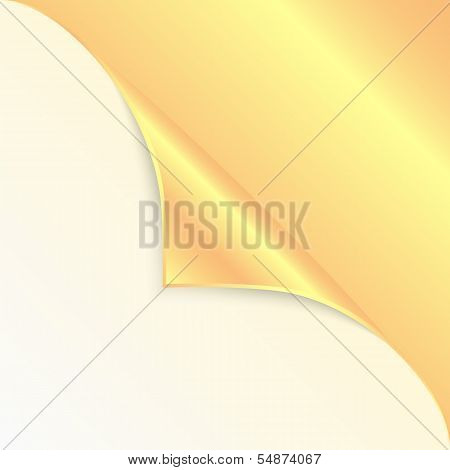 Blank Sheet Of Paper With The Curved  Gold Corner.clean Sheet For Posting Information.vector
