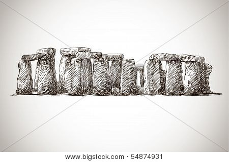 Stonehenge. Vector drawing. UK Landmark.