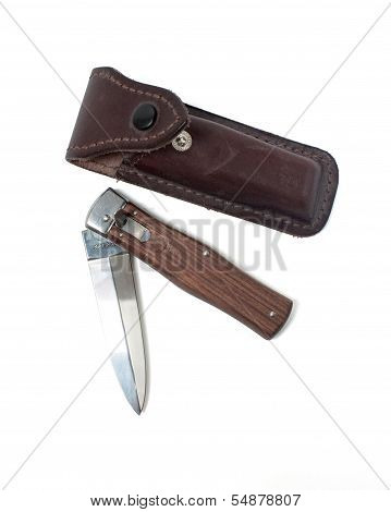 Clasp Stineless Knife On A White Background With Clippig Path