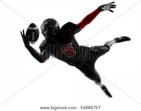 jogador de futebol americano um pegar bola na sombra de silhueta no fundo branco