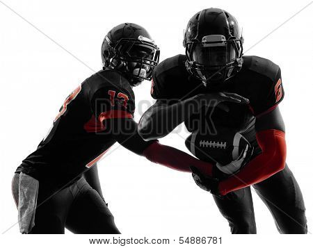two american football players passing play action in silhouette shadow on white background