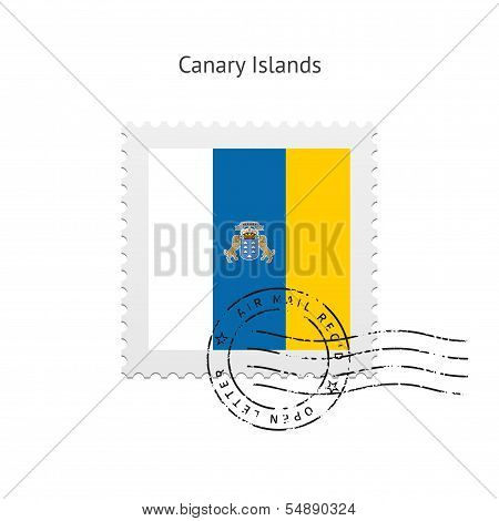 Canary Islands Flag Postage Stamp.