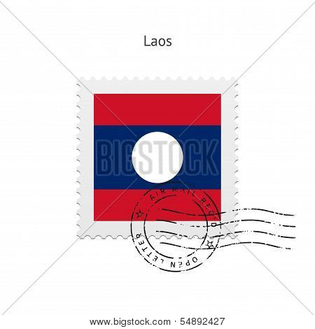 Laos Flag Postage Stamp.