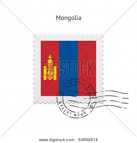 Mongolia Flag Postage Stamp.
