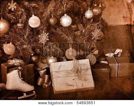 Xmas still life with Christmas tree.Black and white retro.
