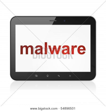 Security concept: Malware on tablet pc computer