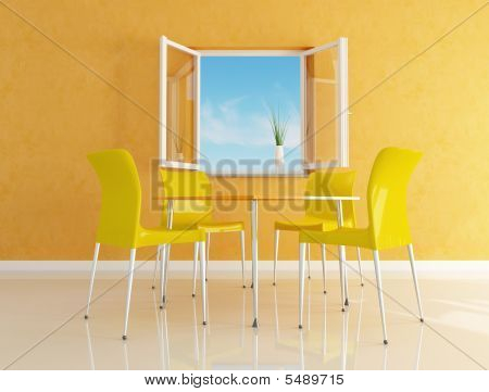 Yellow  Modern Dining Room