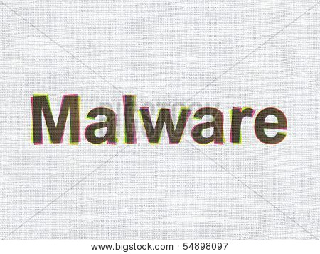 Security concept: Malware on fabric texture background