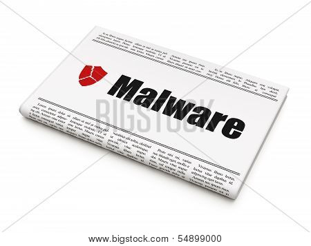 Safety concept: newspaper with Malware and Broken Shield