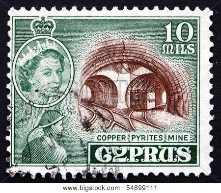 Postage Stamp Cyprus 1955 Copper Pyrites Mine