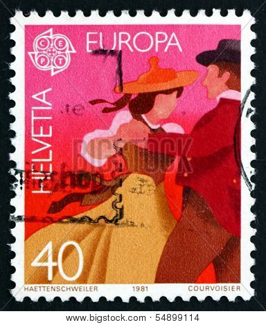 Postage Stamp Switzerland 1981 Couple Dancing In Native Costumes