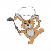 A Funny Cartoon Rabbit Wearing A Chef Hat And With A Soup Ladle In Its Hand