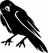 Illustration in style of black silhouette of crow