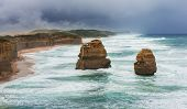 foto of abrasion  - The Twelve Apostles in the rain along the Great Ocean Road Australia - JPG
