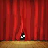 pic of curtain  - Illustration of funny cartoon human creature or animal character - JPG