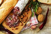 image of salami  - Salami with walnuts  - JPG
