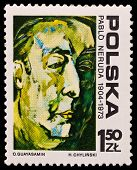 Poland Stamp, Chilean Writer Pablo Neruda