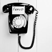 Retro Black Phone With Fraud Message, Fraud Reporting