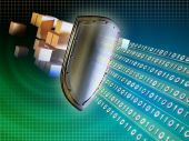 stock photo of encoding  - Metal shield protecting valuable data from external intrusions - JPG