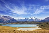 image of snow capped mountains  - The huge deserted National Park Perito Moreno in Patagonia - JPG