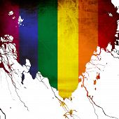 picture of gay pride  - Gay pride flag with some grunge effects and lines - JPG