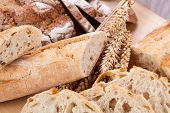 stock photo of fresh slice bread  - fresh tasty mixed bread slice bakery loaf objects food - JPG