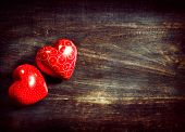 foto of wood  - Valentines Vintage Handmade Couple Hearts over Wooden Background - JPG