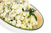 pic of shredded cheese  - Delicious Freshly Made Creamy Potato Salad in Beige Rustic Bowl closeup on white background - JPG